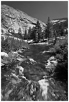 Merced River, Upper Merced River Canyon. Yosemite National Park, California, USA. (black and white)