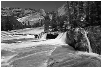 Cascade, Upper Merced River Canyon. Yosemite National Park, California, USA. (black and white)