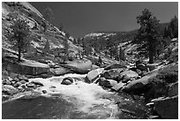 Merced river flowing in granite canyon. Yosemite National Park, California, USA. (black and white)