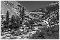 River flowing in smooth granite canyon. Yosemite National Park, California, USA. (black and white)