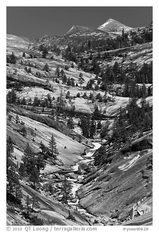 Landscape of smooth granite with flowing Merced. Yosemite National Park (black and white)