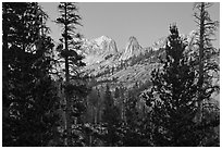 Matthews Crest from Cathedral Fork, dusk. Yosemite National Park ( black and white)