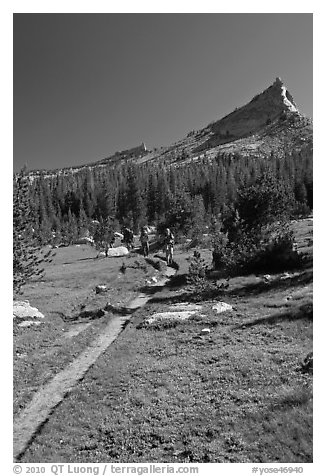 John Muir Trail and backpackers under Tressider Peak. Yosemite National Park (black and white)