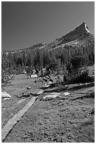 John Muir Trail and backpackers under Tressider Peak. Yosemite National Park, California, USA. (black and white)