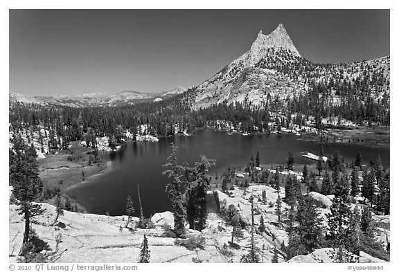 Upper Cathedral lake and Cathedral Peak, mid-day. Yosemite National Park (black and white)