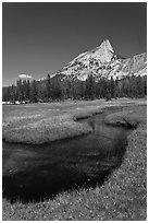 Stream and Cathedral Peak. Yosemite National Park ( black and white)