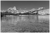 Lower Cathedral Lake and Cathedral range. Yosemite National Park ( black and white)