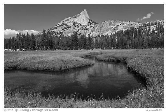 Cathedral Peak reflected in meandering stream. Yosemite National Park (black and white)