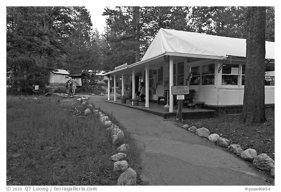 Tuolumne Lodge dining room. Yosemite National Park (black and white)