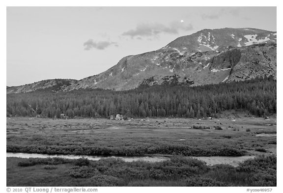 Mammoth Mountain and stream at sunset. Yosemite National Park (black and white)