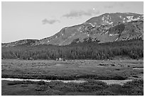 Mammoth Mountain and stream at sunset. Yosemite National Park, California, USA. (black and white)