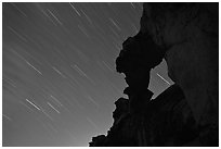 Indian Arch and stars. Yosemite National Park, California, USA. (black and white)