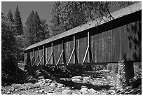 Covered bridge, Wawona historical village. Yosemite National Park, California, USA. (black and white)