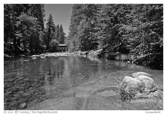 Wawona covered bridge and river. Yosemite National Park, California, USA.