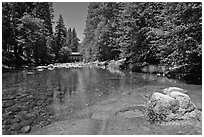 Wawona covered bridge and river. Yosemite National Park, California, USA. (black and white)