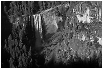 Vernal Fall from above, late afternoon. Yosemite National Park ( black and white)