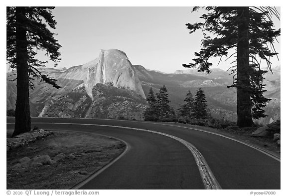 Road and Half-Dome. Yosemite National Park (black and white)