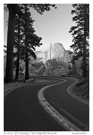 Half-Dome and Glacier Point Road. Yosemite National Park (black and white)