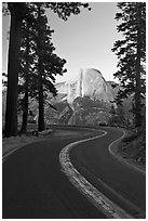 Half-Dome and Glacier Point Road. Yosemite National Park ( black and white)