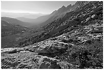 McCabe Creek from McCabe Pass, late afternoon. Yosemite National Park ( black and white)