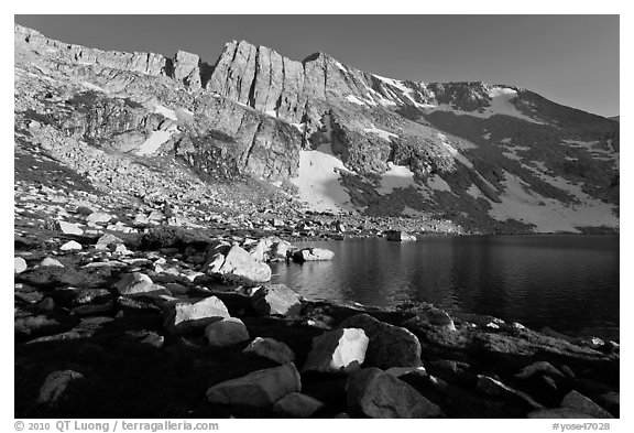 North Peak above Upper McCabe Lake, late afternoon. Yosemite National Park (black and white)