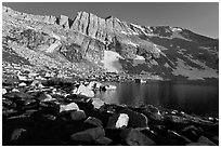North Peak above Upper McCabe Lake, late afternoon. Yosemite National Park ( black and white)
