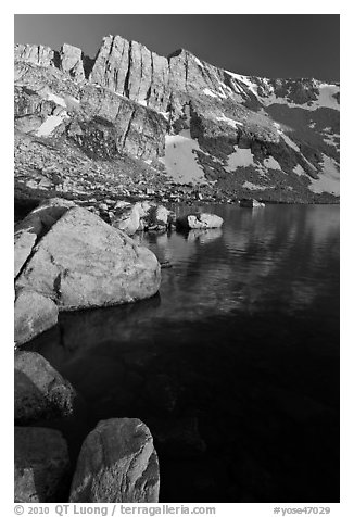 North Peak, Boulders and Upper McCabe Lake, sunset. Yosemite National Park (black and white)