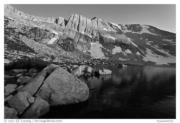 Shore of Upper McCabe Lake with North Peak at sunset. Yosemite National Park (black and white)