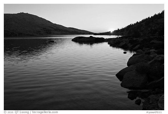 Sun setting over Upper McCabe Lake. Yosemite National Park (black and white)