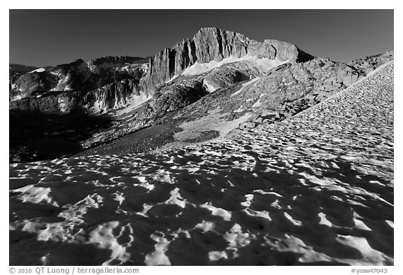 Snow field and North Peak, morning. Yosemite National Park (black and white)