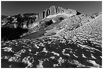 Snow field and North Peak, morning. Yosemite National Park, California, USA. (black and white)
