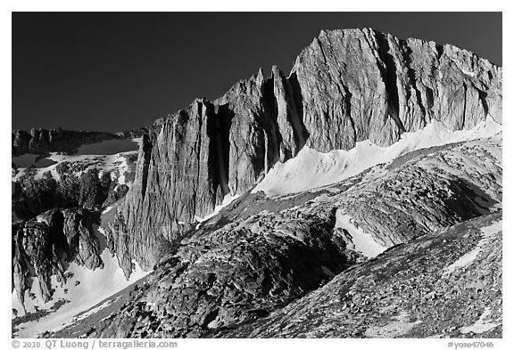 Craggy face of North Peak mountain. Yosemite National Park (black and white)