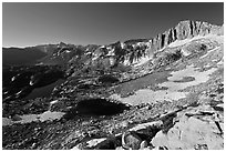 Twenty Lakes Basin and North Peak. Yosemite National Park, California, USA. (black and white)