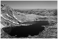 Upper McCabe Lake from above. Yosemite National Park ( black and white)