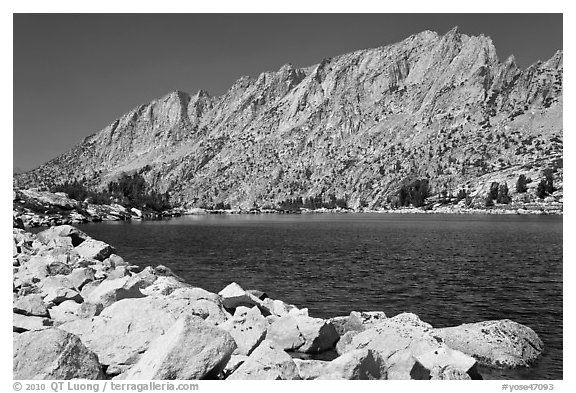 Shepherd Crest West above Upper McCabe Lake. Yosemite National Park (black and white)