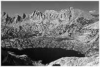 Shepherd Crest and Upper McCabe Lake from above. Yosemite National Park ( black and white)