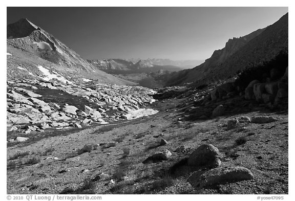 Conness Creek and Roosevelt Lake. Yosemite National Park (black and white)