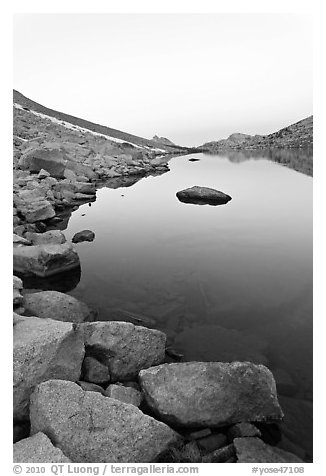 Alpine lake at dawn. Yosemite National Park (black and white)