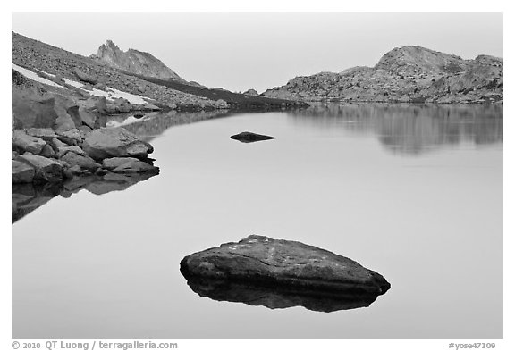 Dawn over Roosevelt Lake. Yosemite National Park (black and white)