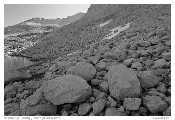 Boulders from rock slide below Mount Conness. Yosemite National Park (black and white)