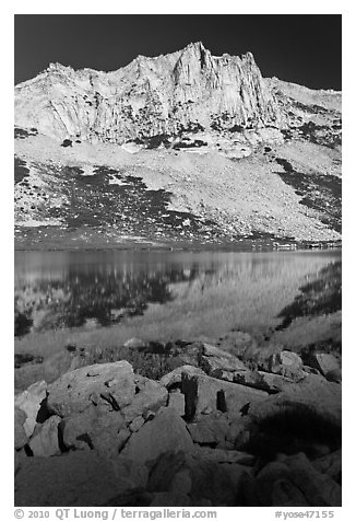Craggy Peak and Sierra lake. Yosemite National Park (black and white)