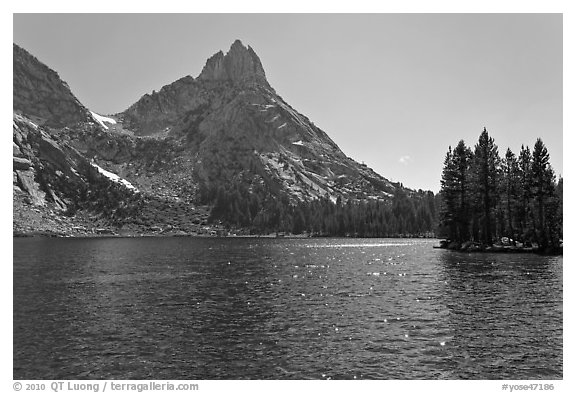 Lower Young Lake and Ragged Peak. Yosemite National Park (black and white)
