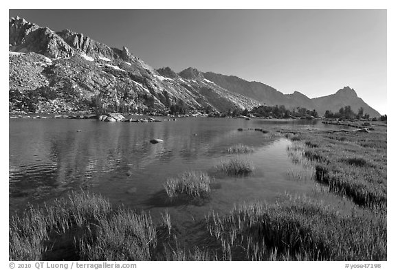 Upper Young Lake and Ragged Peak range. Yosemite National Park (black and white)