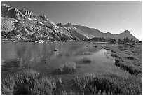 Upper Young Lake and Ragged Peak range. Yosemite National Park, California, USA. (black and white)