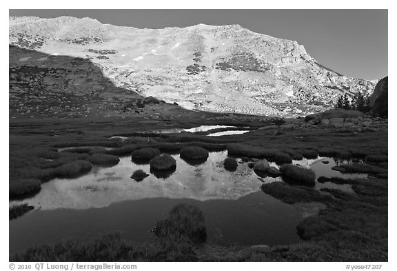 White mountain crest reflected in tarns. Yosemite National Park (black and white)