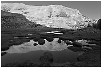 White mountain crest reflected in tarns. Yosemite National Park ( black and white)