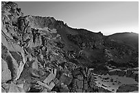 East amphitheater of Mount Conness at dawn. Yosemite National Park ( black and white)