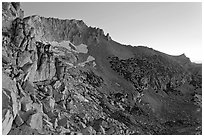 Rocky slopes of Mount Connesss, dawn. Yosemite National Park, California, USA. (black and white)