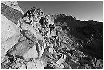 Rocky slopes and Mount Conness, sunrise. Yosemite National Park ( black and white)