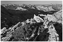 View over northern Yosemite, early morning. Yosemite National Park ( black and white)